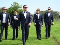 Jewish wedding, groom and groomsmen are coming