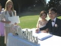 wedding ceremony at Rose garden botanic gardens