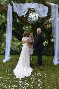 under the canopy at a wedding