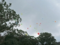 Balloon releasing at baby name day
