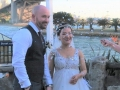 Bride and groom on Sydney harbour