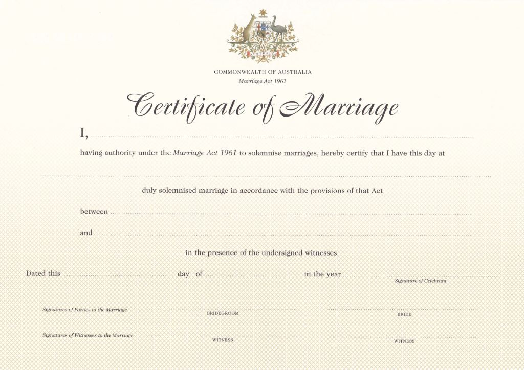 Marriage certificate NSW