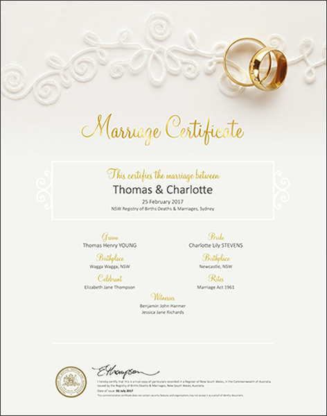 Marriage Certificate NSW, Marriage Gold Rings