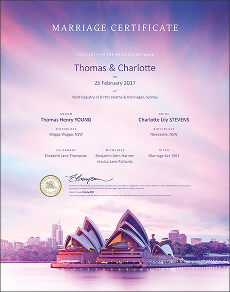 Marriage Certificate NSW, Marriage Opera House