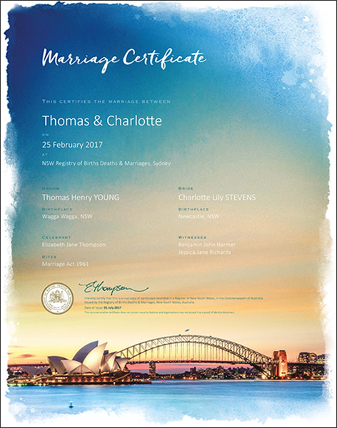 Marriage Certificate NSW, Marriage Sydney Harbour