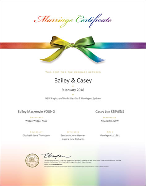 Marriage Certificate NSW, Marriage Rainbow Bow