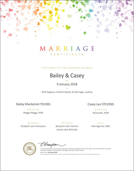 Marriage Certificate NSW, Marriage Rainbow Confetti