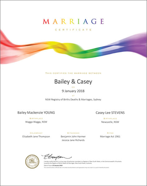 Marriage Certificate NSW, Marriage Rainbow Swirl
