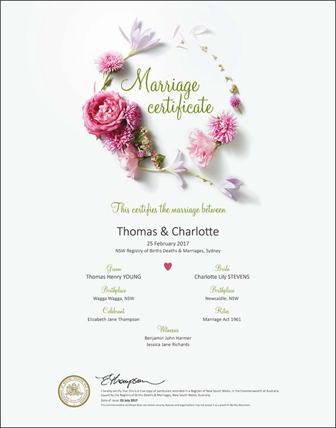 Marriage Certificate NSW, Marriage Floral Pink