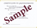 Certificate for grandparents