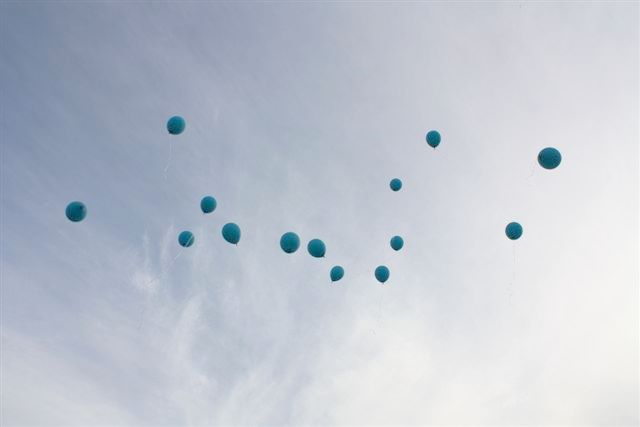 Balloon release at a naming ceremony