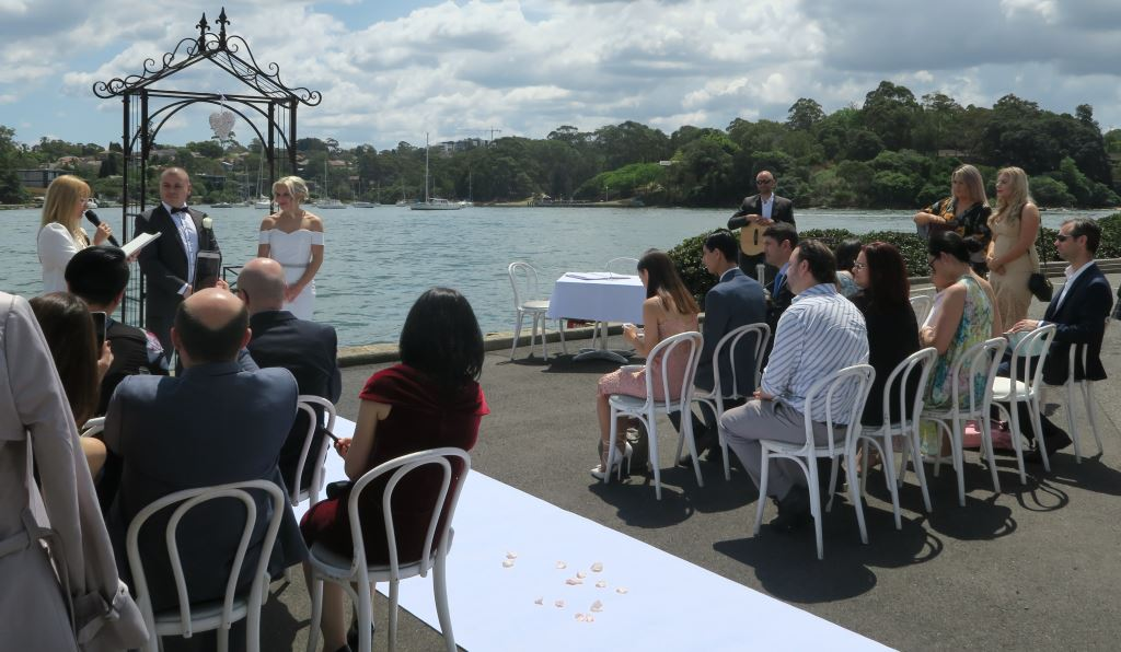 wedding ceremony at rowing club Abbotsford